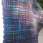 Closeup of the coloured log cabin weave