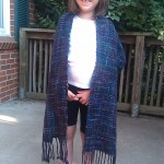 Here's the log cabin shawl modeled by Thea